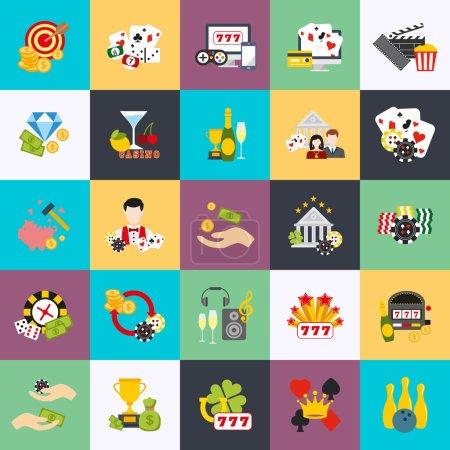 Flat conceptual icons set of casino, casino chips, poker icon, casino background, casino games, game icon, slot machine. Flat vector icon.
