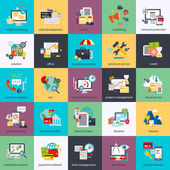 Flat conceptual icons set of seo monitoring and digital marketing creative process business and finance office teamwork data analysis startup planning and web analytics Flat vector icon