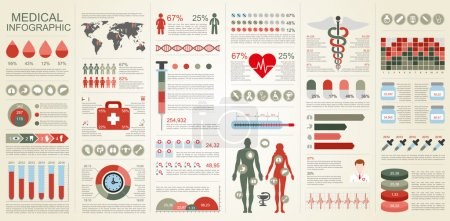 Medical infographic vector design template. Can be used for workflow, health and healthcare, diagram, infographic banner, web design, bundle infographic elements, set information infographics.