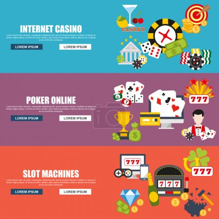 Flat design style modern vector illustration concept for internet casino, poker online, slot machines, excitement temptation win game for website banner. Flat icons.