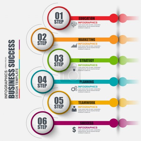 Infographic number options vector design template. Can be used for workflow layout, data visualization, business concept with 6 options, parts, steps or processes, banner, diagram, chart, web design.