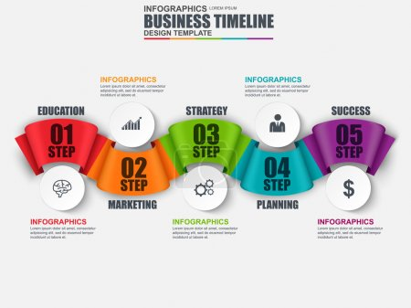 Infographic ribbon timeline vector design template. Can be used for workflow, startup, business success, diagram, infographic banner, teamwork, design, infographic elements, information infographics.