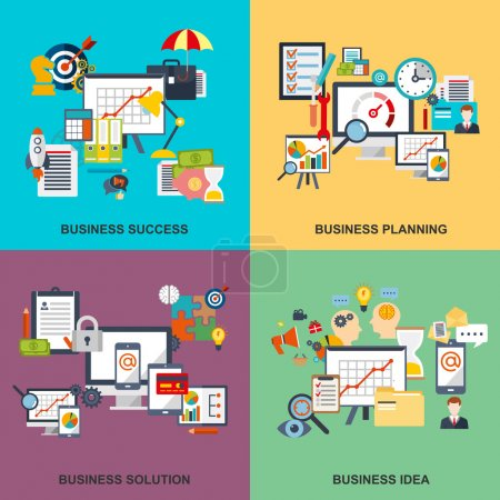 Illustration for Set of flat line concept of business planning, business startup, business analysis, business strategy, analytics, mangement, corporate business team. Web design, marketing, and graphic design. EPS10 - Royalty Free Image
