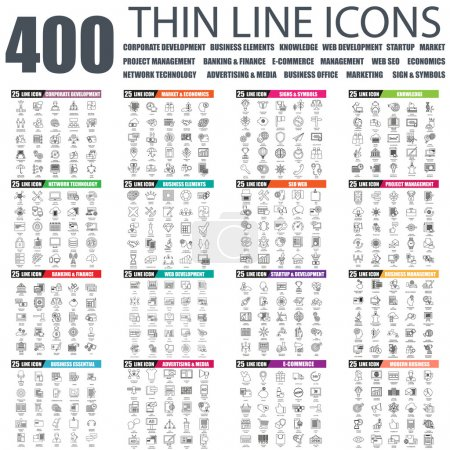 Set of thin line icons for corporate development, project management, network tehnology, banking, business office, web development, startup, market, economics, seo, advertising. Linear symbols set.