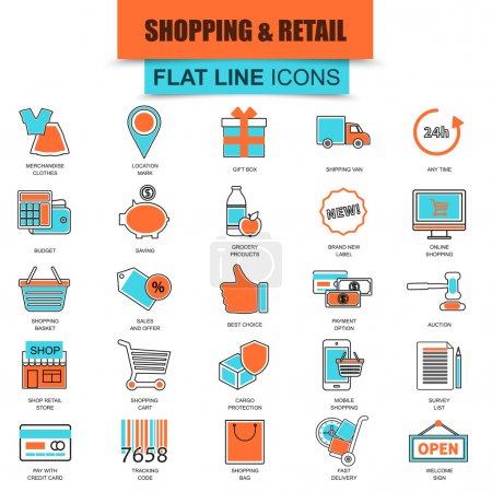 Set of thin line icons e-commerce, internet shopping, retail store and online sales. Modern mono flat linear concept pictogram, set simple outline icon symbol for designers. Collection flat line icon.