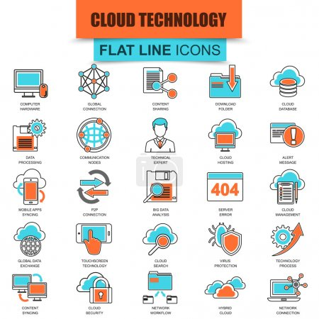 Set of thin line icons cloud data technology services, global connection, cloud computing. Modern mono flat linear concept pictogram, set simple outline icon, for designers. Collection flat line icon.