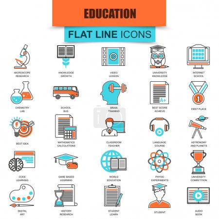 Set of thin line icons internet education and online course study, e-learning. Modern mono flat linear concept pictogram, set simple outline icon, symbol for web designers. Collection flat line icon.