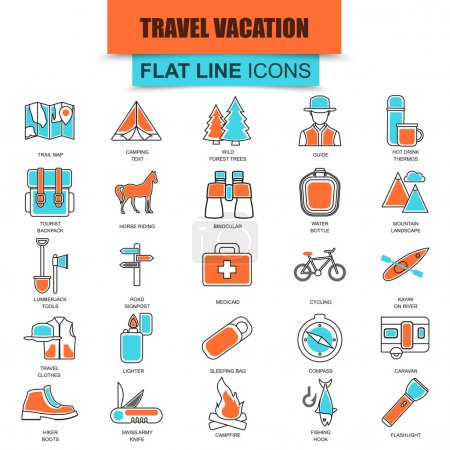 Set of thin line icons nature tourism recreation, outdoor camping and travel vacation. Modern mono flat linear concept pictogram, set simple outline icon for designers. Collection flat line icon.