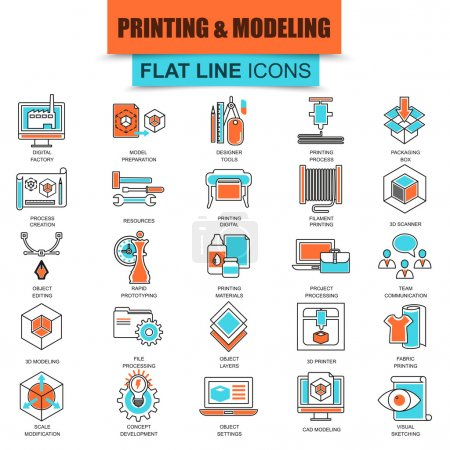 Set of thin line icons 3D printing and modeling technology. Modern mono flat linear concept pictogram, set simple outline icon, symbol for graphics and web designers. Collection flat line icon.