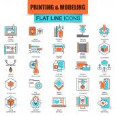 Set of thin line icons 3D printing and modeling technology Modern mono flat linear concept pictogram set simple outline icon symbol for graphics and web designers Collection flat line icon EPS10