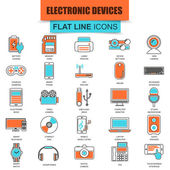 Set of thin line icons computer electronics and multimedia devices Modern mono flat linear concept pictogram set simple outline icon symbol for graphics and web designers Collection flat line icon EPS10