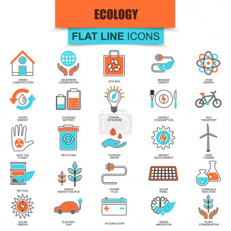 Set of thin line icons ecological energy source, environmental safety, environment, renewable energy, sustainable technology, recycling, ecology solutions. Mono flat icon. Collection flat line icon.