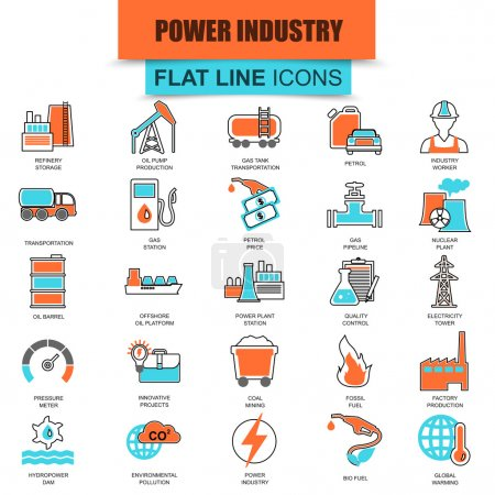 Set of thin line icons power plant, extraction of various resources, electricity industry. Modern mono flat linear concept pictogram, set simple outline icon, symbol. Collection flat line icon.
