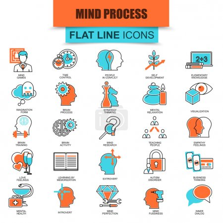 Set of thin line icons human mind process, brain features and emotions. Modern mono flat linear concept pictogram, set simple outline icon, symbol for web designers. Collection flat line icon.
