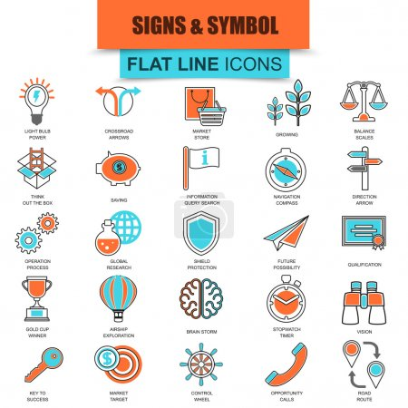 Set of thin line icons various business sing and symbols, metaphor elements. Modern mono flat linear concept pictogram, set simple outline icon, symbol for web designers. Collection flat line icon.