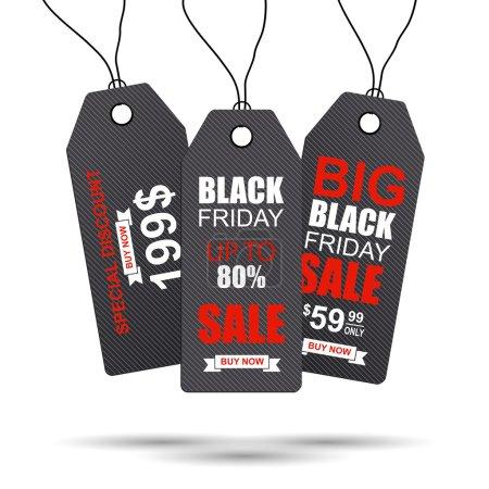 Illustration pour Black Friday étiquette de vente de collection. PSE10 - image libre de droit