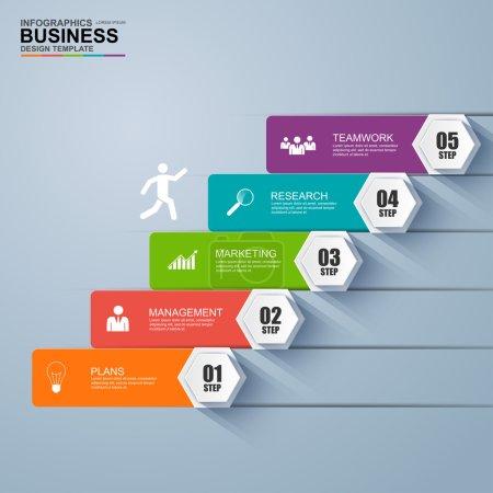 Illustration pour Modèle de conception vectorielle de réussite d'étape d'escalier d'affaires infographie. PSE10 - image libre de droit