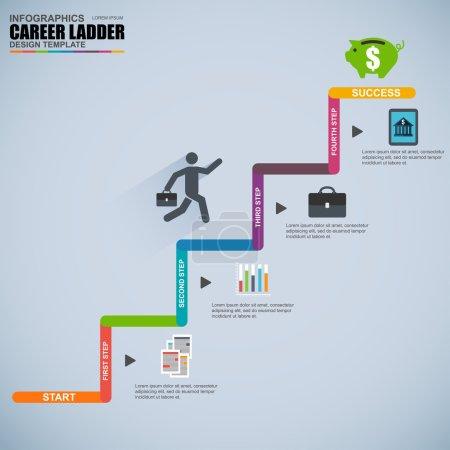 Infographics business career ladder vector design template