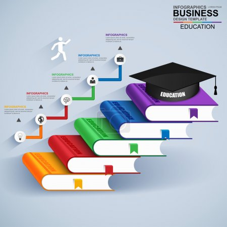 Photo for Infographics education staircase success vector design template. Can be used for workflow process, banner, diagram, number options, work plan, step up options, web design. EPS10 - Royalty Free Image
