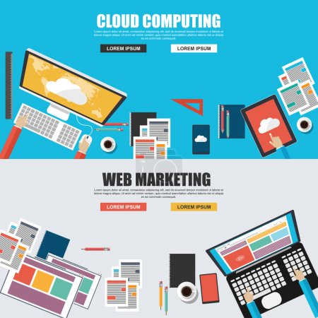 Flat design concepts for cloud computing and web marketing top view