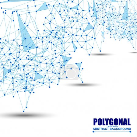 Illustration for Abstract wireframe mesh polygonal background with connected lines and dots. EPS10 - Royalty Free Image