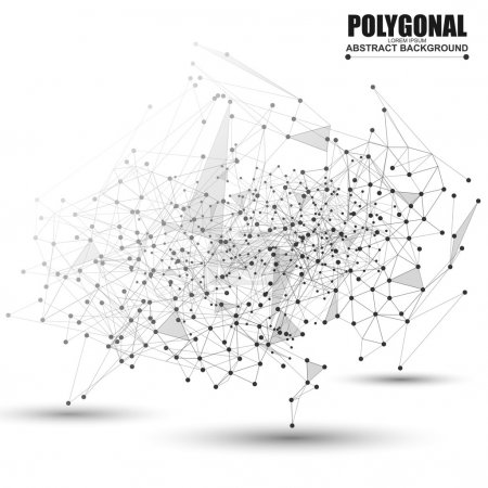 Illustration for Abstract wireframe mesh polygonal background with connected lines and dots - Royalty Free Image