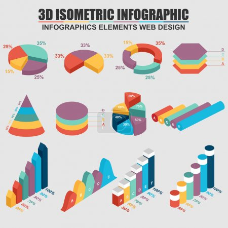 Illustration for Set of 3D business isometric Infographics. Can be used for workflow process, business pyramid, banner, diagram, number options, work plan, web design. - Royalty Free Image