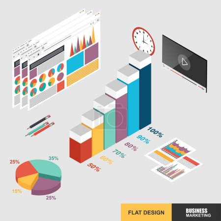 Illustration for Flat 3d isometric design concept web marketing for data analysis - Royalty Free Image