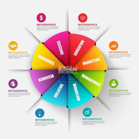 Illustration pour Diagramme d'origami d'affaires numérique 3D abstrait Infographie. Peut être utilisé pour les processus de flux de travail, bannière, diagramme de cycle, options de nombre, présentation et diagramme rond, plan de travail, conception Web . - image libre de droit