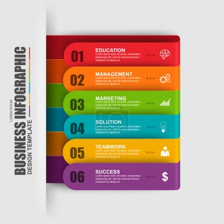 Abstract 3D digital business label Infographic