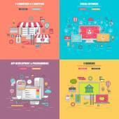 Set of 4 thin line flat design concept for social network internet media services e-commerce