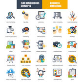 Set of flat design icons concept for marketing and strategy analysis