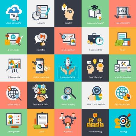 Illustration pour Ensemble d'icônes de concept de design plat moderne pour le marketing Internet, le commerce électronique, les affaires. Les icônes peuvent être utilisées pour les sites Web, les modèles d'impression et de présentation, les infographies, les services et applications Web et mobiles. PSE10 - image libre de droit