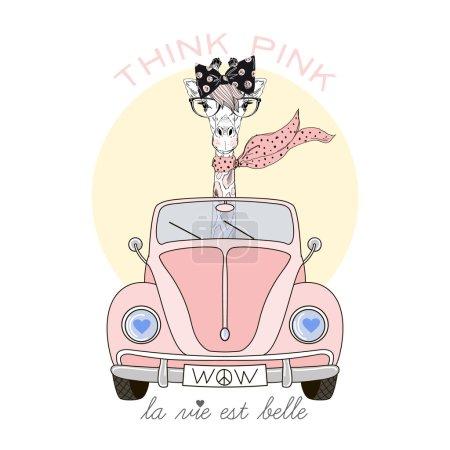 Illustration pour Mignon girafe fille conduite voiture rose, illustration enfant, conception textile - image libre de droit