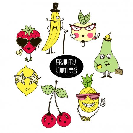 Set of cute fruity characters