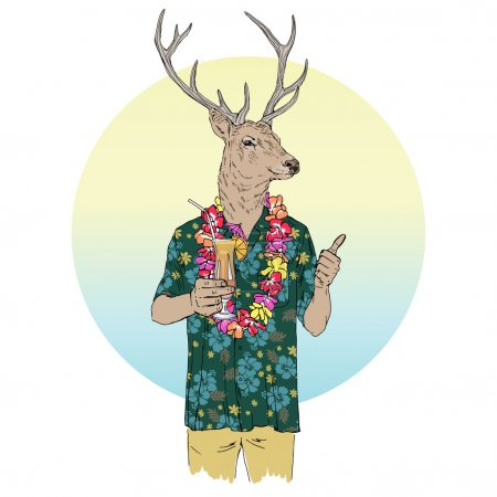 deer man  with cocktail