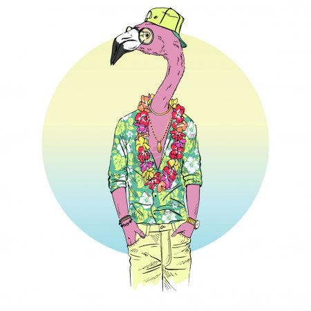 flamingo dressed up in aloha shirt