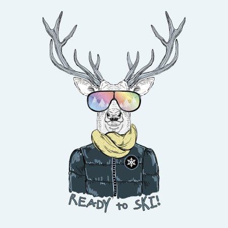fashion portrait of deer dressed up