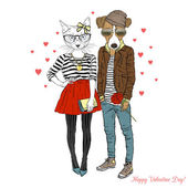 cat and dog hipsters couple