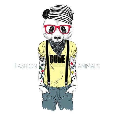 tattooed panda hipster boy