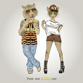 Furry art illustration of tiger boy and leopard girl couple Valentine Day design