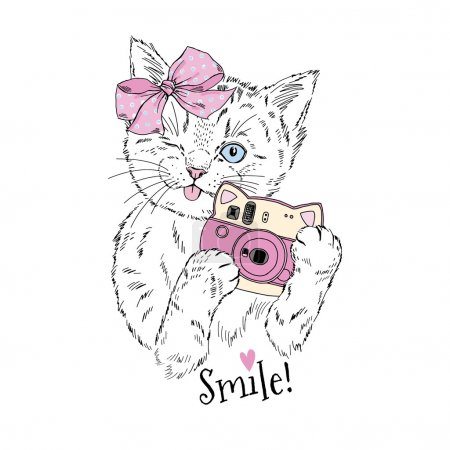 Illustration for Cute kitty girl with photo camera, hand drawn graphic, animal illustration - Royalty Free Image