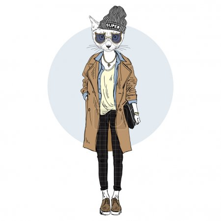 Illustration for Cat girl dressed up in casual urban style, furry art illustration, fashion animals - Royalty Free Image