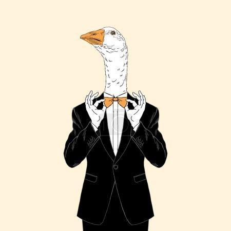 goose dressed up in tuxedo
