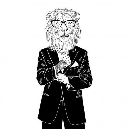 lion dressed up in tuxedo