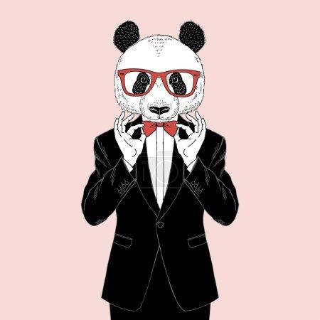 panda dressed up in tuxedo