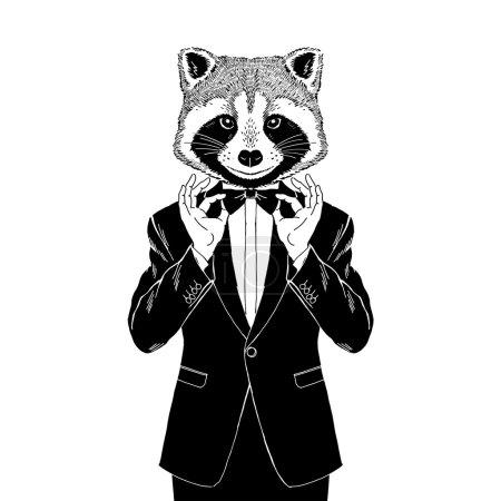 raccoon dressed up in tuxedo