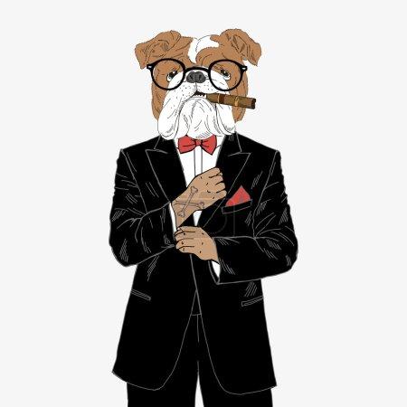 english bulldog dressed up in tuxedo