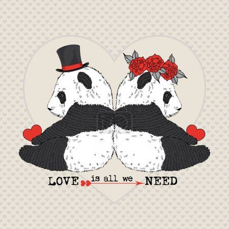 Illustration for Hand drawn illustration of cute pandas couple in love, postcard design - Royalty Free Image