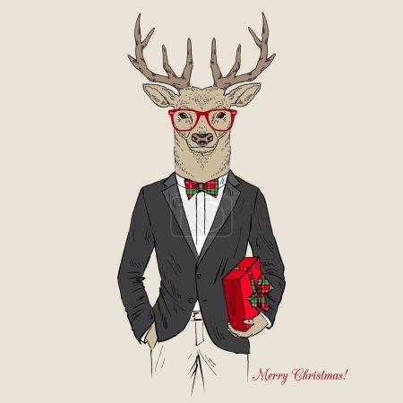 Illustration pour Joyeux cerf de Noël habillé en smoking avec un cadeau - image libre de droit